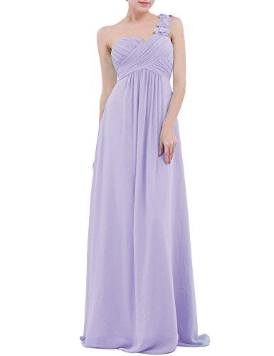YiZYiF Chiffon Applique One Shoulder Long Bridesmaids Party Dress Lavender - Dress Lavender Bridal