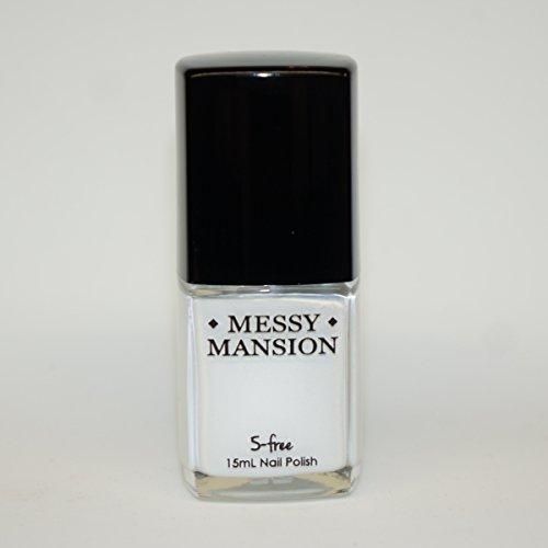 """MESSY MANSION """"Chalk"""" White Nail Art Stamping Polish 15mL 5-Free"""