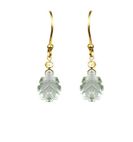 Green Amethyst Leaf Vermeil Earrings - Gold Vermeil Leaf Earrings