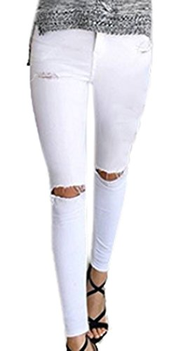 Fashion Crayon Casual t Pants Skinny Femmes Leggings Jeans Blanc Pantalons Cass Trou Z6nzx0ngAq