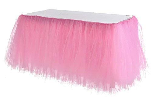 Adeeing Tulle Table Skirt, Tutu Pink Table Skirting Cover for Party, Baby Shower, Wedding, Birthday, Home Decoration - 1Yard (Pink) -