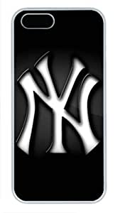 New York Yankees on Black Iphone 5/5S White Sides Hard Shell Case by eeMuse