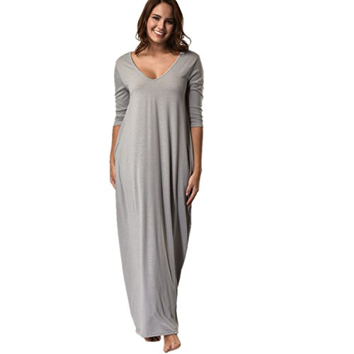 Hot Sales! ZOMUSA Plus Size Hippie Women 3/4 Sleeve Low V Neck Maxi Long Dress with Pocket (M, -