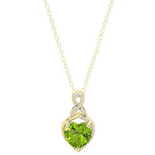 Dazzlingrock Collection 18K 8 MM Heart Shaped Peridot & Round White Diamond Ladies Heart Pendant, Yellow Gold