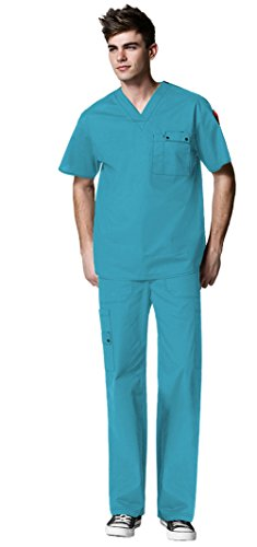 WonderWink Men's WonderFlex Utility Top 6618 and WonderFlex Utility Pant 5618 Scrub Set (Real Teal - XXX-Large/XXXL Tall) (Worker Iron Reel)