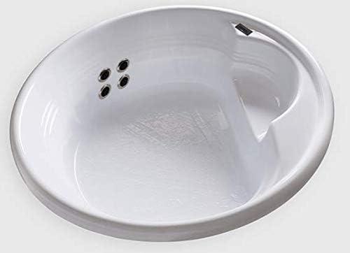 Carver Tubs – FL7272-4 Vibrosonic Massagers – 72 L x 72 W x 18 H – White Drop In Acrylic Round Bathtub Left Hand Motor