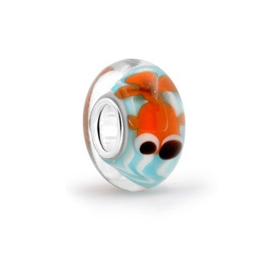 Sterling Silver Nautical Fish Murano Glass Bead Charm