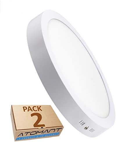 Pack 2x Plafon Superficie Led Redondo 18W. Color Blanco Neutro (4500K). 1600 lumenes. A++: Amazon.es: Iluminación