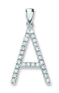 Or blanc 9 carats-Diamant-Pendentif initiale A 0.22ct
