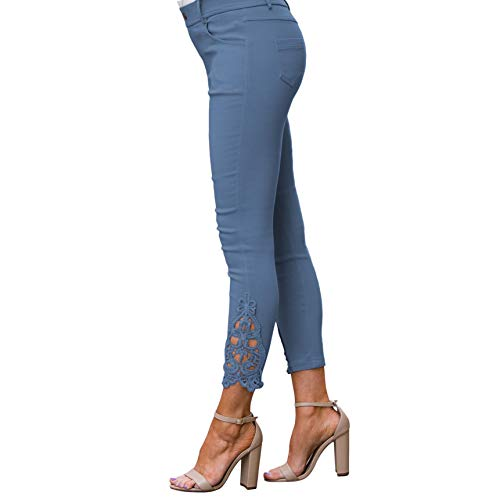 Crochet Jeans - Amaryllis Apparel Women's Powder Blue Crochet Ankle Jegging | 95% Cotton / 5% Spandex