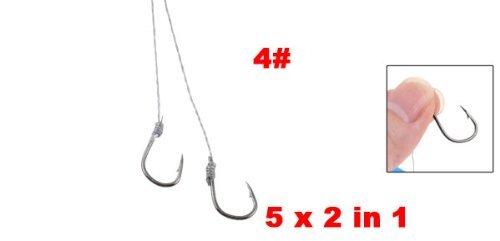 5 x 2 en 1 gris clair Ligne de pêche en métal Crochets Poisson Bundle 4 #