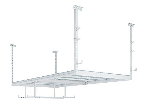 NewAge Products VersaRac White 1 Overhead Rack and 8 Piece Accessory Kit, Garage Overheads, 40238
