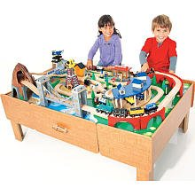 Amazon.com: Imaginarium Classic Train Table with Roundhouse Wooden ...