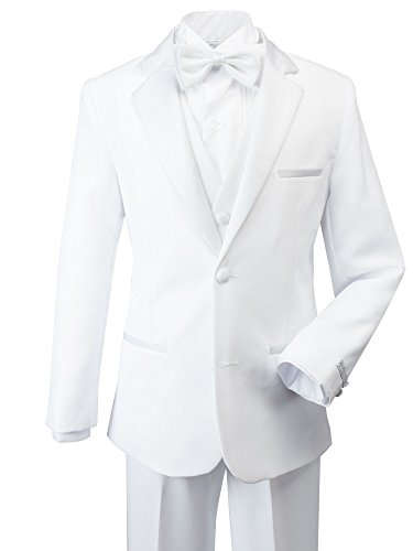 Spring Notion Little Boys' Modern Fit Tuxedo Set, No Tail Large White