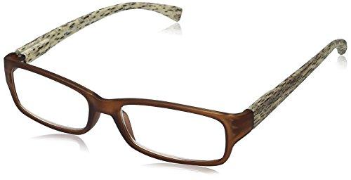 OPTX 20/20 Women's Optx 20/20 Tropic+150 Matt Trans Brown W/ Wooden Pattern Temple RTRO150BRN Rectangular Reading Glasses, Transparent Brown with wooden pattern temples, - Wooden Glasses Reading