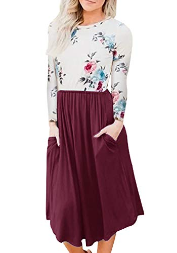 YOOKI Women Autumn Long Sleeve Floral Print Patchwork Casual Pleated Midi Dress with Pockets (L-Wine Red, (Floral Lightweight Skirt)