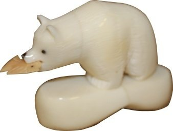Green Living Tree Handmade Tagua Nut Carving Collectible - Spirit Bear with Fish