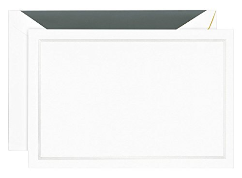 (Crane Charcoal Triple Hairline Frame Correspondence Card, Pearl White)