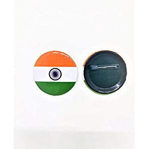 Nimida Indian National Flag Round Metal & Plastic Lapel Pin / Brooch / Badge for Clothing Accessories – Large Size 4.5…