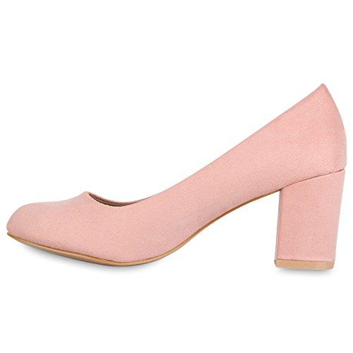 Stiefelparadies Klassische Damen Pumps Mid Heels Leder-Optik Schuhe Blockabsatz Flandell Rosa Bexhill
