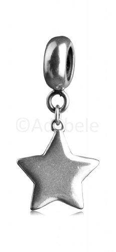.925 Sterling Silver Magic Wish Star Dangle Pendant Fits One Pandora, Biagi, Troll, Chamilla and Many Other European Charm #EC349