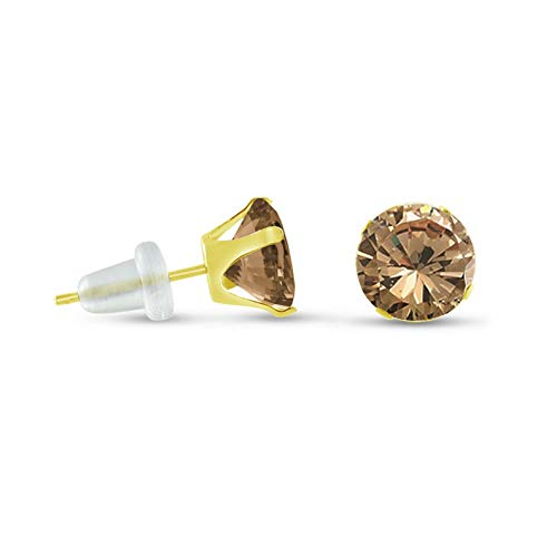 Crookston Solid 10K Yellow Gold Round Champagne Stud Earrings - Choose a Size 2mm-10mm | Model ERRNGS - 14966 | 8mm - 2XL Large