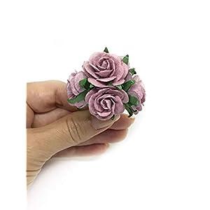 """1"""" Mauve Paper Flowers Paper Rose Artificial Flowers Fake Flowers Artificial Roses Paper Craft Flowers Paper Rose Flower Mulberry Paper Flowers, 20 Pieces 4"""