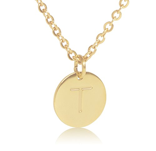 "18K Gold-Plated Round Disc Engraved Initial Pendant 18"" Adjustable Necklace with Personalized Alphabet Letter (T) (Gold Plated Disc)"
