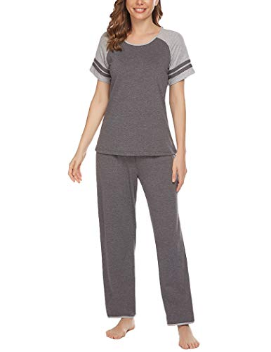 Ekouaer Women's Pajamas Set O-Neck Short Sleeve Tops with Pants Soft Sleepwear Pjs Sets