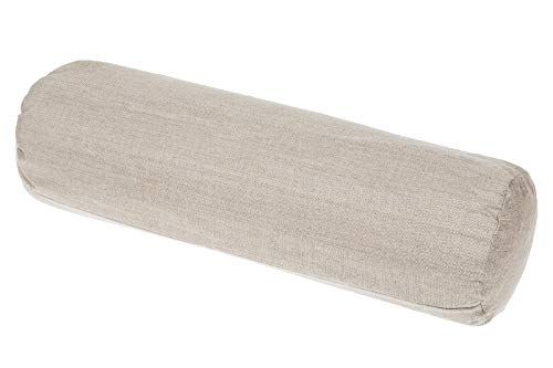 Grain Dreams Buckwheat Bolster Pillow, 19.7 x 5.5 in. with Removable Flax Linen Cover, 100% Buckwheat Filling. Perfect Yoga Prop. Great Against Neck Pain. Cooling Effect for Relaxing Sleep.