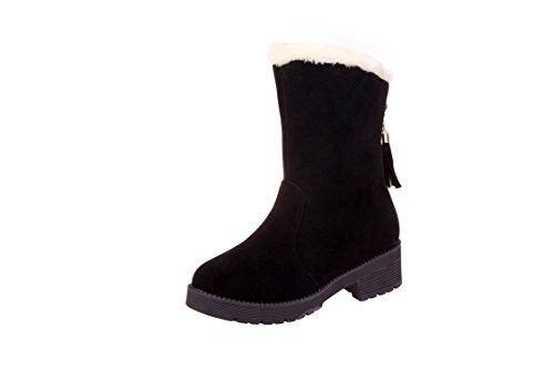 Black Navideños Con Talón Medio Alta Bajo Plano nbsp;regalos Deporte Mujer Tacón De Botas Chunky Borlas Yff Zapatillas q5a0W7
