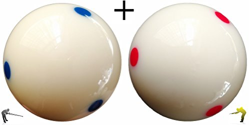 Loto AAA-Grade PRO Cup Standard Pool-Billiard Cue Ball with 6 Dots (2-1/4'', 6 oz) (Blue + Red)