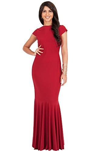 KOH KOH® La Mujer Vestido maxi manga corta elegante Rojo Crimson