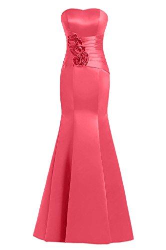 sunvary Mermaid Sweetheart satén de flores vestidos de fiesta Prom Fiesta Rosa