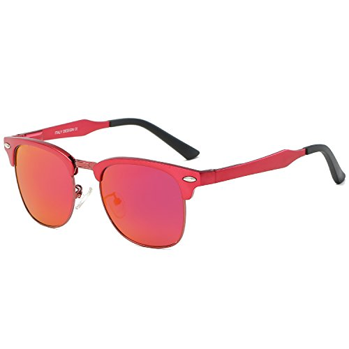 Galulas Classic Retro Square Semi-rimless Wayfarer Women and Men Sunglasses Al-Mg Polarized Eyewear Frames Mirrored Reflective REVO Lenses Driving Shades (Red Frame Red Lens, - For Looking Guys Best Sunglasses