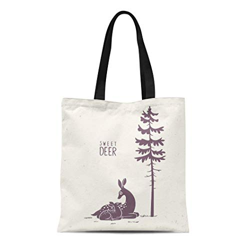 Semtomn Cotton Canvas Tote Bag Silhouette of Beautiful and Cute Cartoon Deers New Born Reusable Shoulder Grocery Shopping Bags Handbag Printed