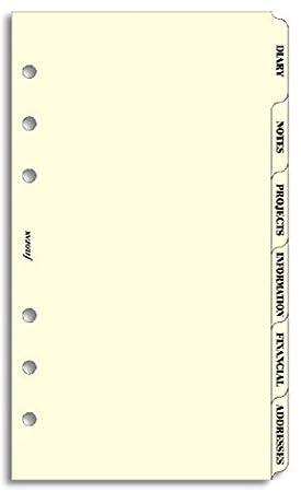 Filofax Personal - Set de 6 clasificadores para agenda de anillas (agenda, notas,
