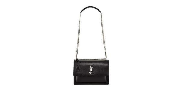 0d82b407587 Saint Laurent Sunset Large Monogram YSL Crossbody Bag made in Italy  (Black): Handbags: Amazon.com