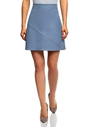 oodji Ultra Women's Faux Leather Trapeze Skirt, Blue, 4
