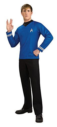 UHC Men's Deluxe Blue Shirt Movie Characters Star Trek Fancy Costume, XL (44-46) (Star Trek Movie Blue Shirt Adult Costume)