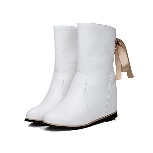 AllhqFashion Womens Soft Material Round Closed Toe Solid Low-Top High-Heels Boots White cy05mH0c