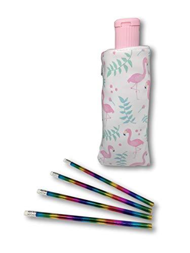 Flamingo Plum - Flamingo Pencil Case - Built in Pencil Sharpener Tip Plus Rainbow Pencils Set (Fabulous Flamingo Pencil Case Set)