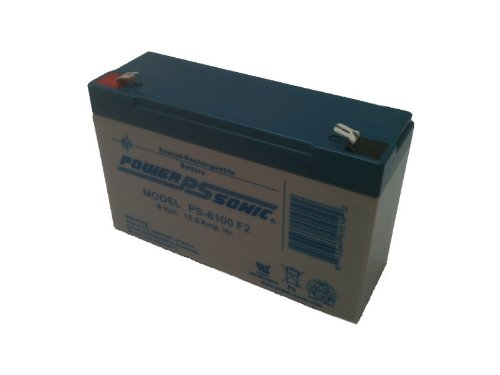 Powersonic PS-6100F2-6 Volt/12 Amp Hour Sealed Lead Acid Battery with 0.250 Fast-on Connector