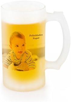 Jarra de cerveza opaca de vidrio esmerilado personalizada con foto o texto 50cl: Amazon.es: Hogar