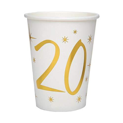 CHAL - 20 Vasos de cumpleaños de 20 años, Color Blanco y ...