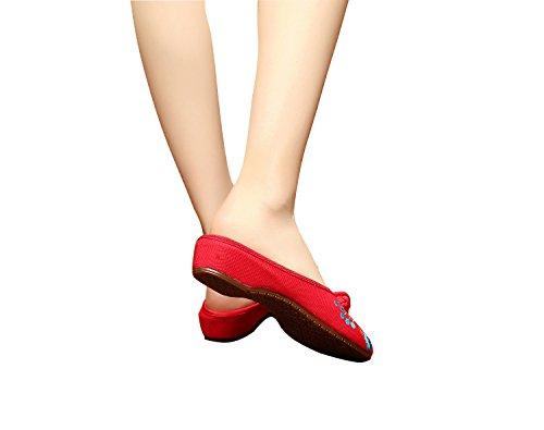 Bininbox Linne Kvinnor Kinesisk Stil Hibiskus Broderade Tillfälliga Platta Tofflor Röd