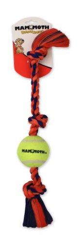 Flossy Chews Color 3-Knot Tug with 1 3-Inch Tennis Ball, Medium, 20-Inch ()