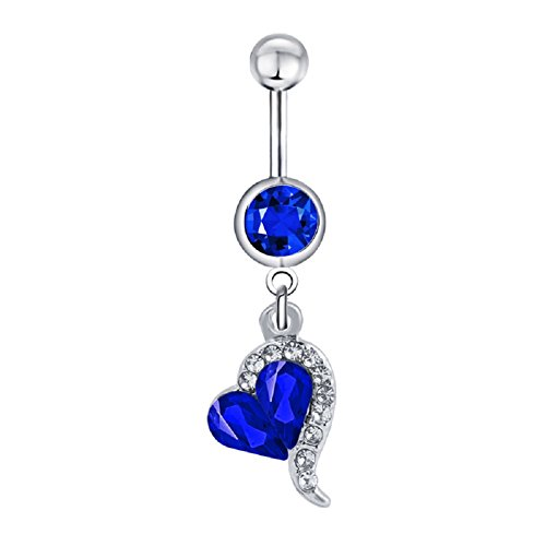 Power Wing Belly Button Rings Dangle Sexy Heart Butterfly Infinity Set Surgical Steel 14G Navel Rings Jewelry for Women (Heart)