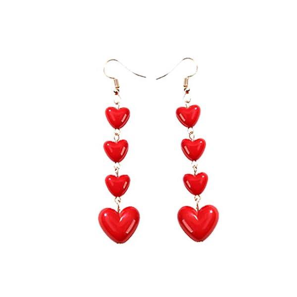 Women Vintage Long Pendant Red Love Geometry Enamel Earrings Ladies Jewelry Fashion Jewelry Gift for Women Daoroka