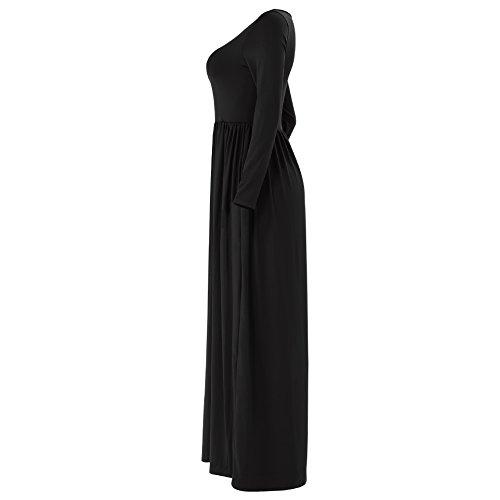 Plage des d't Rojeam Boho noir Robe avec Zz Robe Poches Longue Femme qSSHwU4